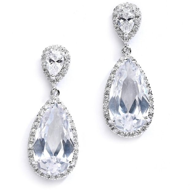 Mariell Cubic Zirconia Wedding Or Bridal Earrings with Elongated Pear Drop