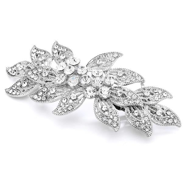 Mariell Vintage Leaves Filigree Crystal Wedding Or Prom Hair Barrette
