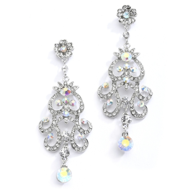 Mariell Iridescent AB Vintage Chandelier Earrings for Prom, Homecoming Or Weddings