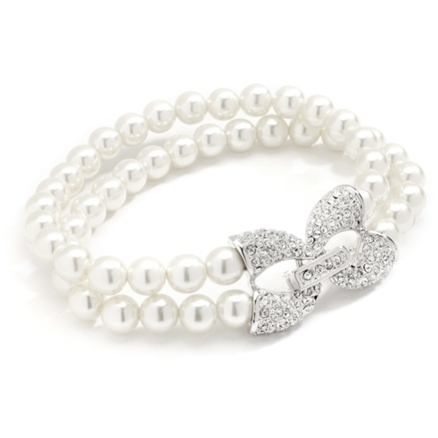 Mariell Two Row Ivory Pearl Wedding Bracelet with Pave Cubic Zirconia Accents