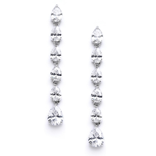 Mariell Pear Shaped Cubic Zirconia Linear Wedding Earrings
