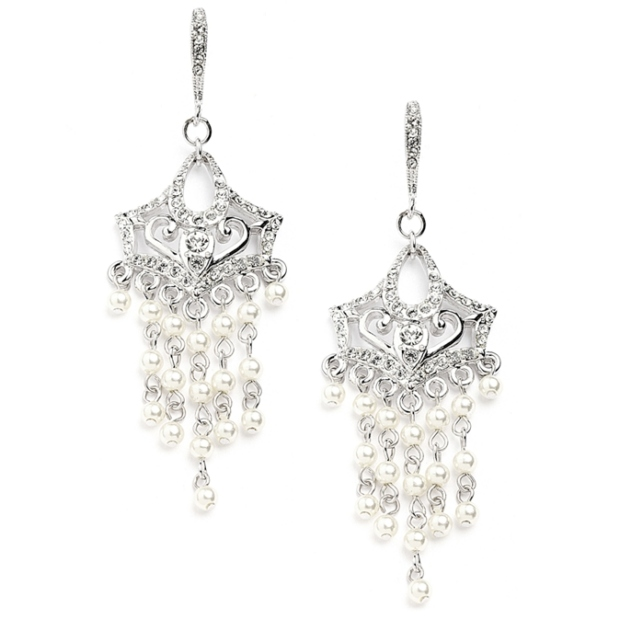 Mariell Vintage Pearl Chandelier Wedding Earrings with Cubic Zirconia Encrusted French Wires