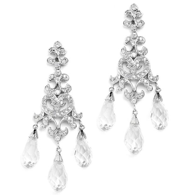Mariell Crystal Teardrop Vintage Chandelier Earrings for Weddings, Proms Or Bridesmaid