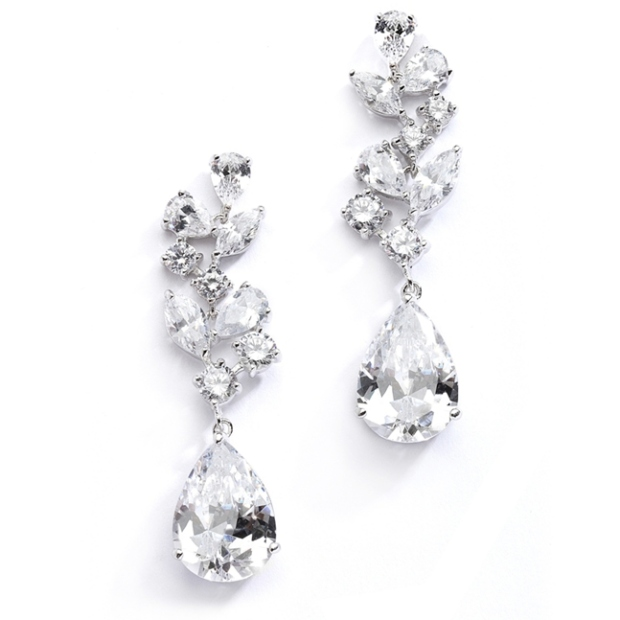 Mariell Magnificent Cubic Zirconia Red Carpet Dangle Wedding Earrings