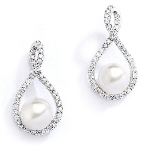 Mariell Eternity Symbol Cubic Zirconia Wedding Earrings with Pearl