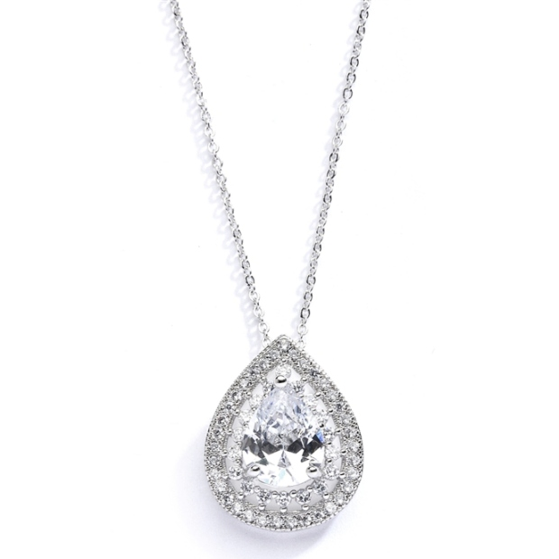 Mariell Designer Micro Pave Cubic Zirconia Bridal Or Mother of the Bride Pendant