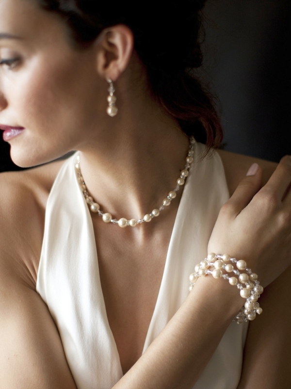 Mariell Adjustable Coil Ivory Pearl Wedding Bracelet