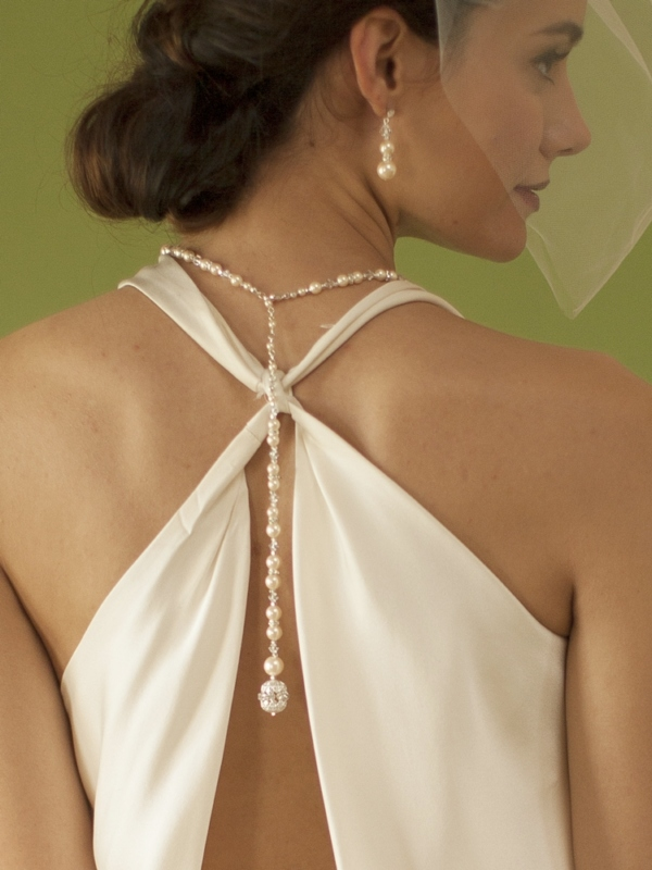 Mariell White Pearl & Crystal Long Back Necklaces for Bridal, Bridesmaids & Prom