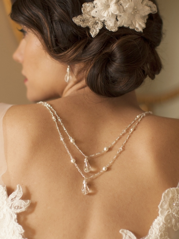 Mariell Draped Figaro Chain Teardrop Back Necklace for Bridal Or Prom