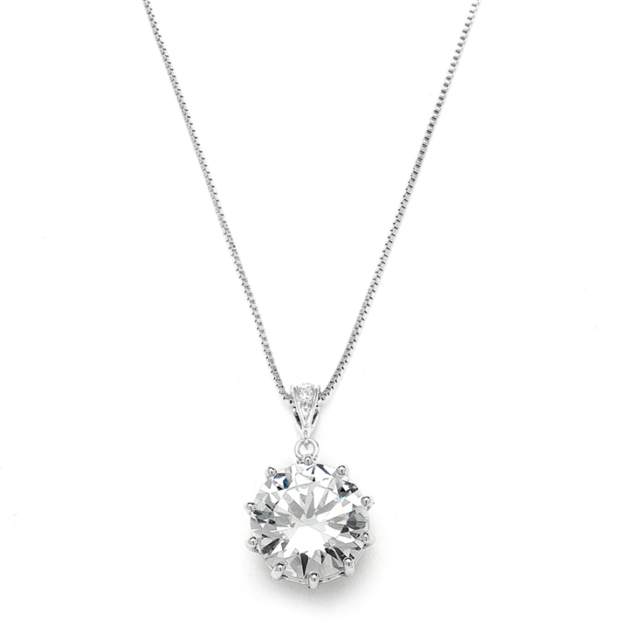 Mariell Bridal, Prom Or Bridesmaids Bling CZ Necklace Pendant