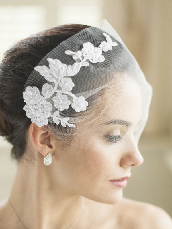 Mariell White Tulle Bandeau Wedding Veil with Beaded Lace Applique