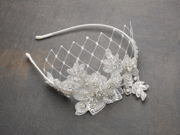 Mariell Luxurious Crystal Embellished Lace Wedding Headband with Wide Netting