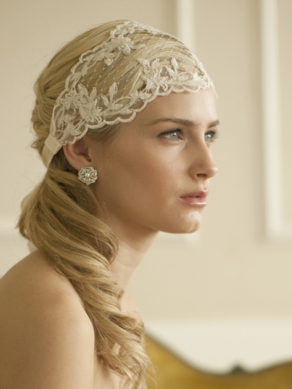 Mariell Ivory Split Lace Ribbon Wedding Headband with French Netting