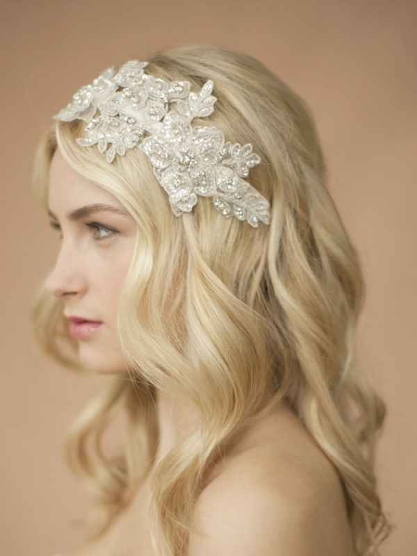 Mariell Sculptured Ivory Lace Wedding Headband with Crystals & Beads