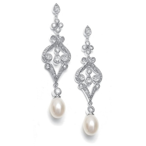 Mariell Vintage CZ Scroll Earrings with Freshwater Pearl