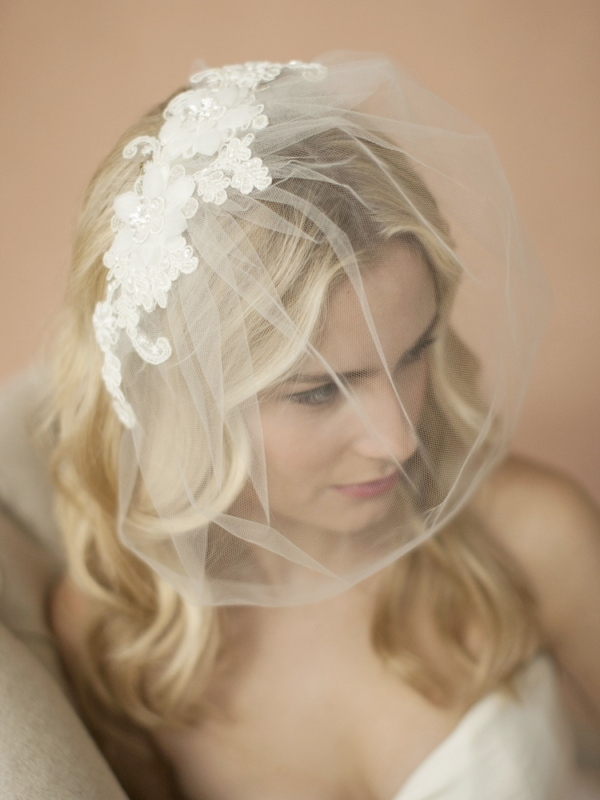 Mariell Double flower Ivory Lace Applique On Handmade Tulle Birdcage Blusher Veil