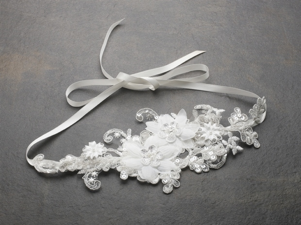 Mariell Luxurious Ivory Lace Applique Wedding Ribbon Headband with Georgette flowers