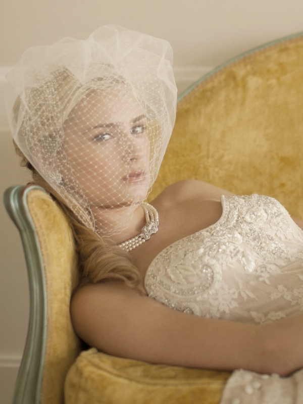 Mariell 2-Layer White Bridal Birdcage Veil with French Netting and Row of Tulle