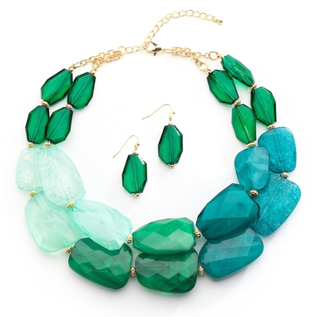 Mariell Green Tones Chunky Statement Necklace & Earrings for Prom Or Bridesmaids