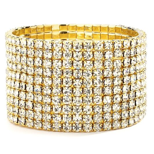 Mariell 10-Row Clear Gold Rhinestone Wedding Or Prom Stretch Bracelet