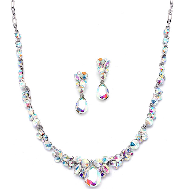 Mariell Regal AB Crystal Bridal Or Prom Necklace & Earrings Set