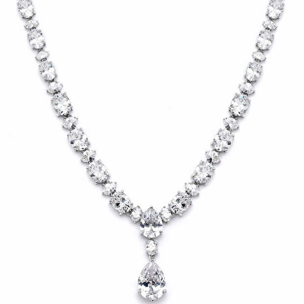 Mariell Shimmering Pear & Oval CZ Bridal Statement Necklace