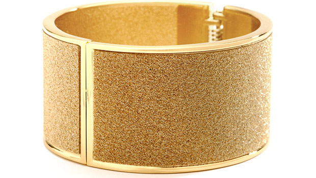 Mariell Deep Gold Sparkles Hinged Cuff Bracelet