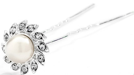 Mariell Popular Crystal & Soft Creme Pearl flower Bridal Hair Stick