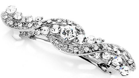 Mariell Antique Silver Art Deco Crystal Wedding Or Prom Barrette