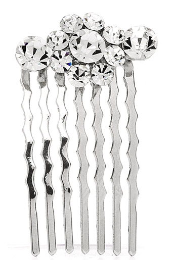 Mariell Petite Wedding Or Prom Hair Comb with Crystal Clusters