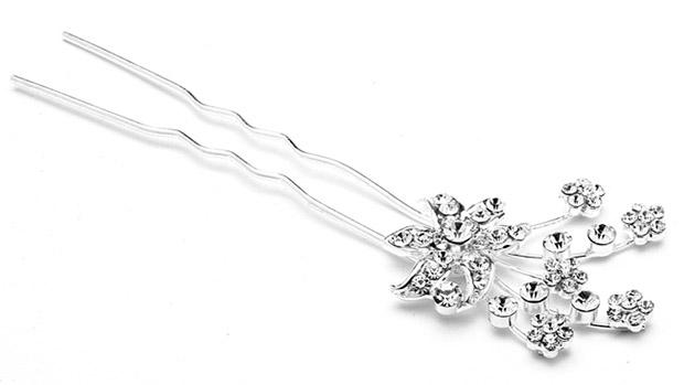Mariell Pave Crystal flower Garden Hair Stick Pin