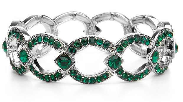 Mariell Emerald Crystal Art Deco Links Bracelet