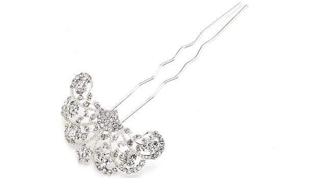 Mariell Glamorous Gatsby Fan Shaped Crystal Prom Or Wedding Hair Stick Pin
