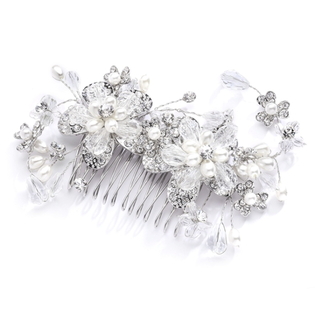 Mariell Fabulous Wedding Or Brides Hair Comb with Pearl and Crystal Sprays