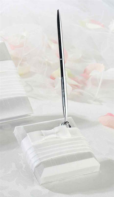 Lillian Rose White Pleated Silk Pen Set