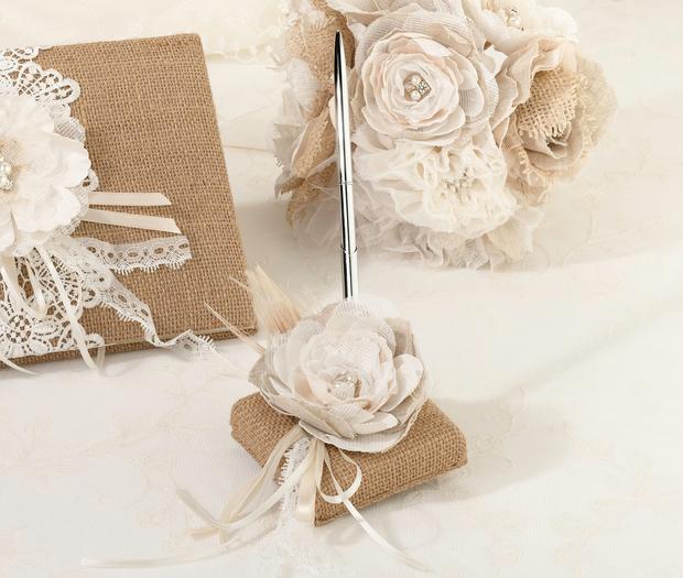 Lillian Rose Burlap & Lace Pen Set