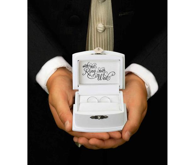 Lillian Rose White Ring Bearer Box