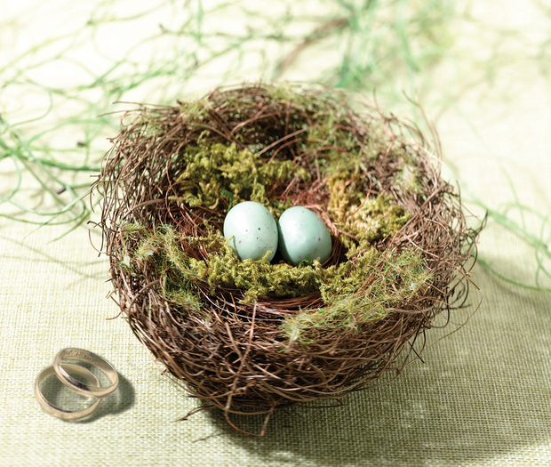 Lillian Rose Moss Bird Nest Ring Holder