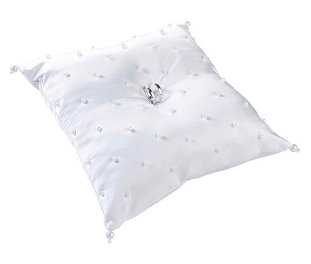 Lillian Rose Pearl Ring Pillow - White