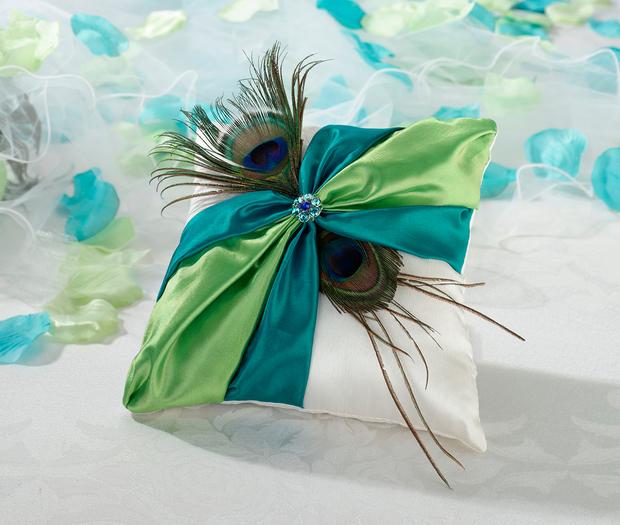 Lillian Rose Peacock Ring Pillow