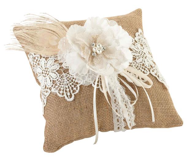 Lillian Rose Burlap & Lace Ring Pillow