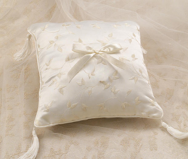 Lillian Rose Elegant Satin Ring Pillow Ivory