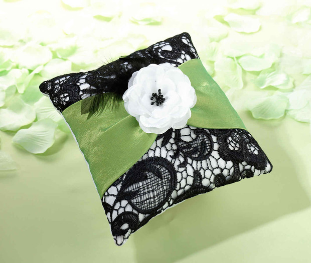 Lillian Rose Green & Black Ring Pillow