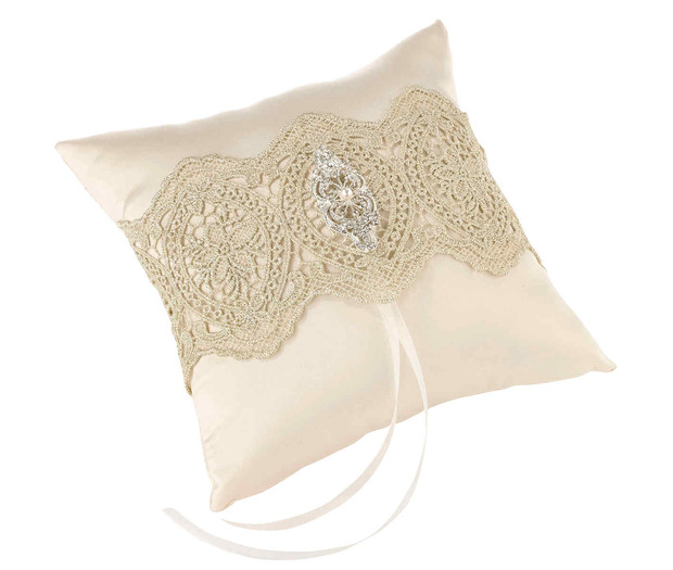 Lillian Rose Gold Lace Ring Pillow