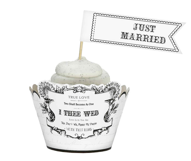 Lillian Rose Set of 12 Cupcake Pick - Just Married