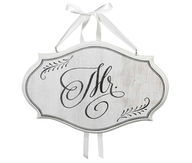 Lillian Rose Mr. Sm Oval Sign - White