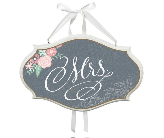 Lillian Rose Mrs. Sm Oval Sign - Black