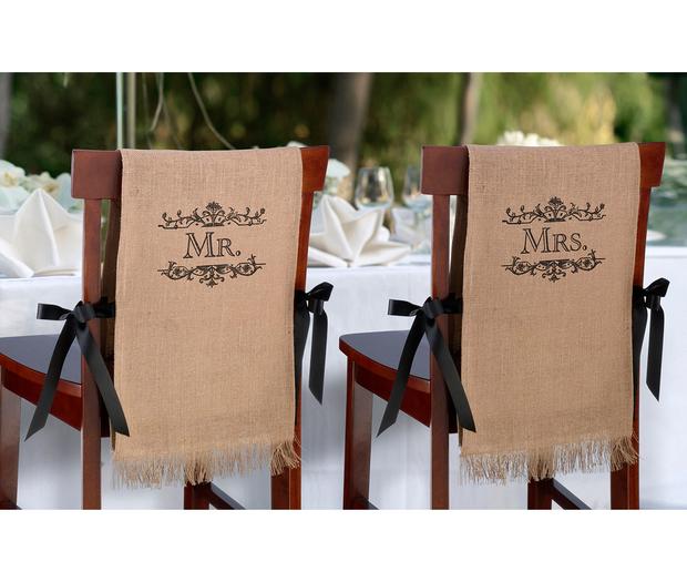 Lillian Rose Mr. & Mrs. Burlap Chair Covers