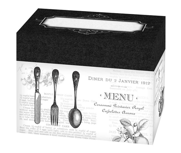 Lillian Rose Black/White Recipe Card Box with Cards - Blank