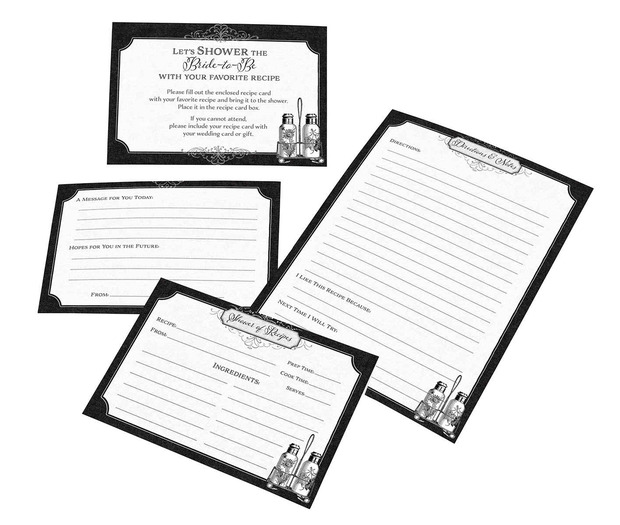 Lillian Rose Black and White Recipe Cards - Set of 24